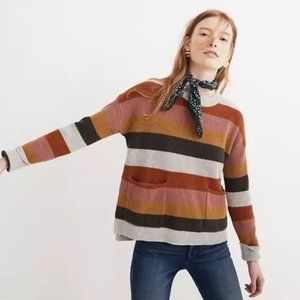 Madewell Patch Pocket Pullover Striped Sweater